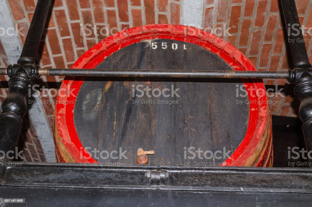 Old large wooden barrel stock photo