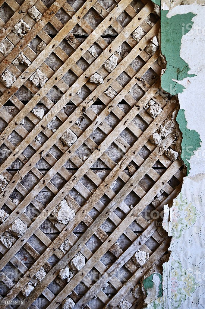 Old lath and plaster background stock photo
