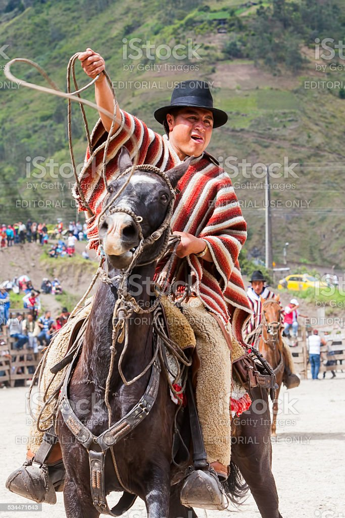 Old Latin Cowboy Riding A Horse stock photo