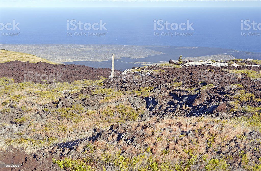 Old Lava Flow Leading to the Ocean royalty-free stock photo
