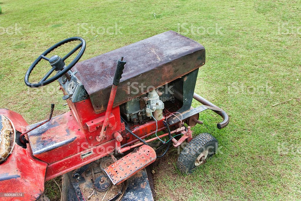 Old lawn mower stock photo