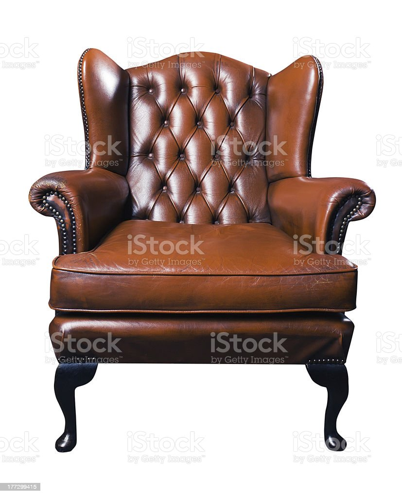 old leather armchair on a white background stock photo