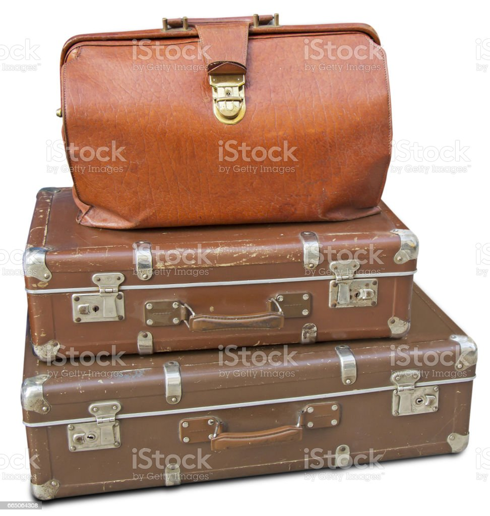 Old Suitcases Old Leather Bag And Two Old Suitcases Stock Photo 665064308 Istock