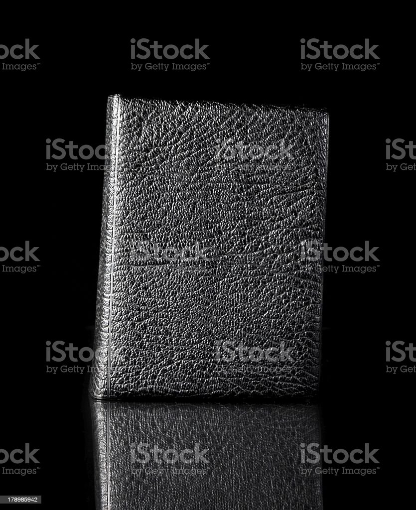 Old leather book cover, vintage texture reflected royalty-free stock photo