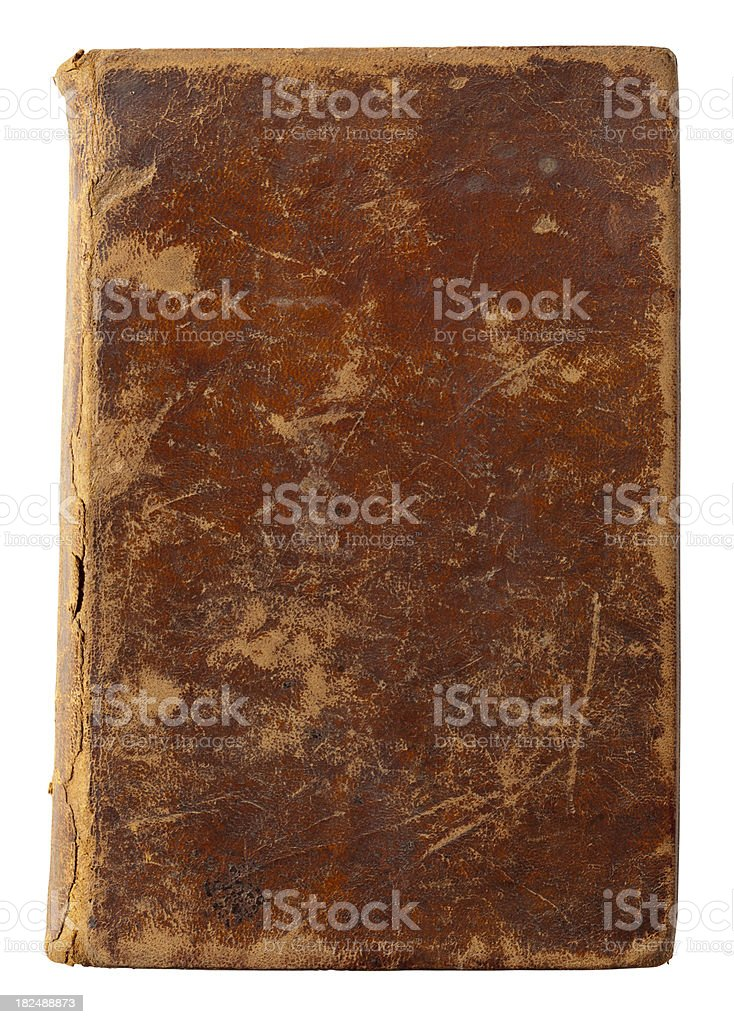 Old Leather Book Cover. White Background, Clipping Path. stock photo