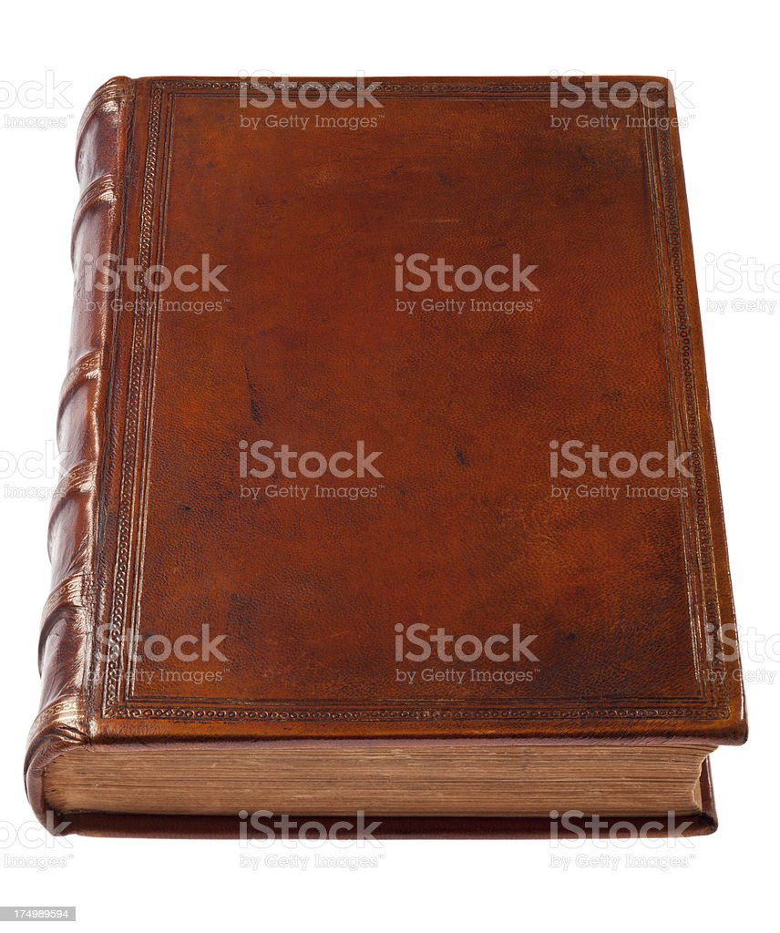 Old Leather Book On White Background stock photo