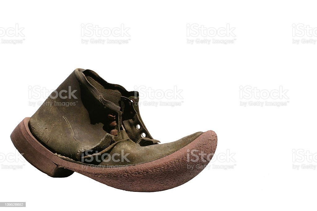Old Leather Boot Isolated royalty-free stock photo