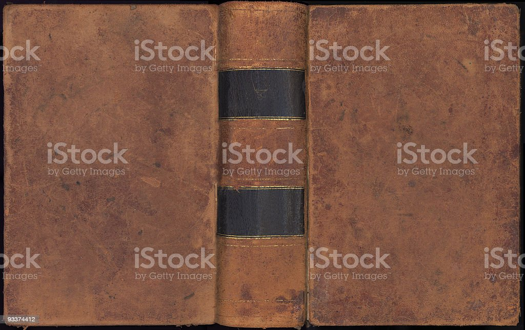Old, leather bound book cover in brown stock photo