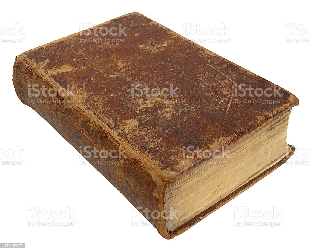 Old Leather Bound Book. White Background, Clipping Path. royalty-free stock photo