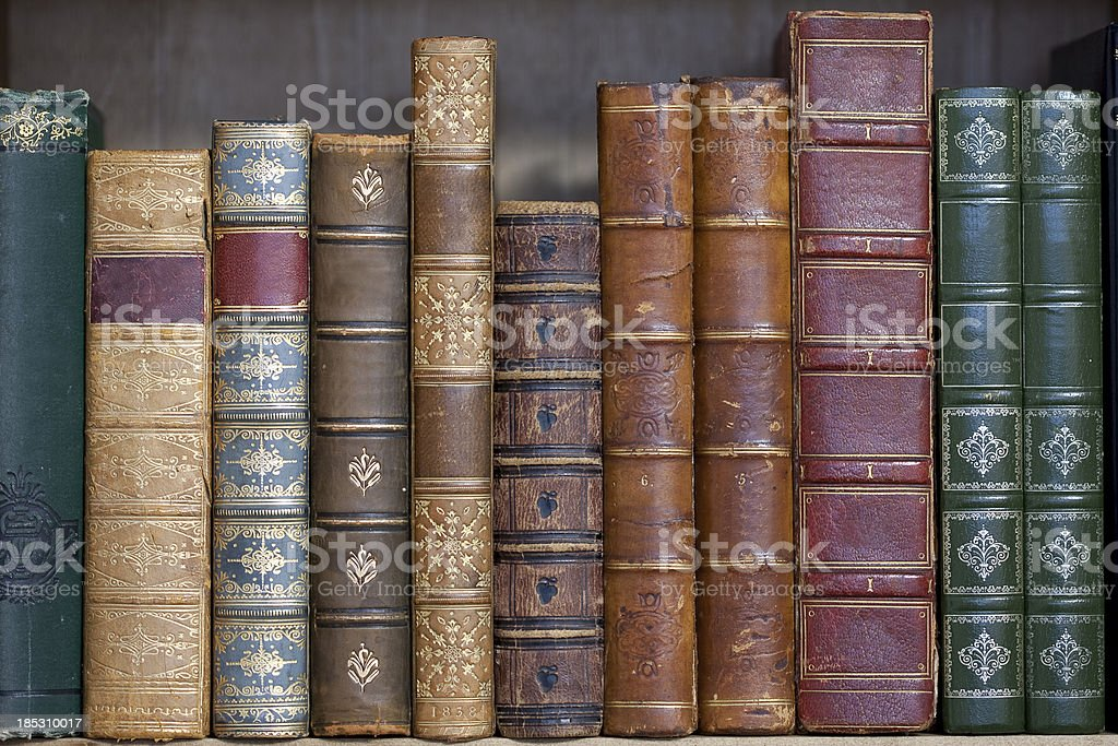 Old Leather Bound Books royalty-free stock photo