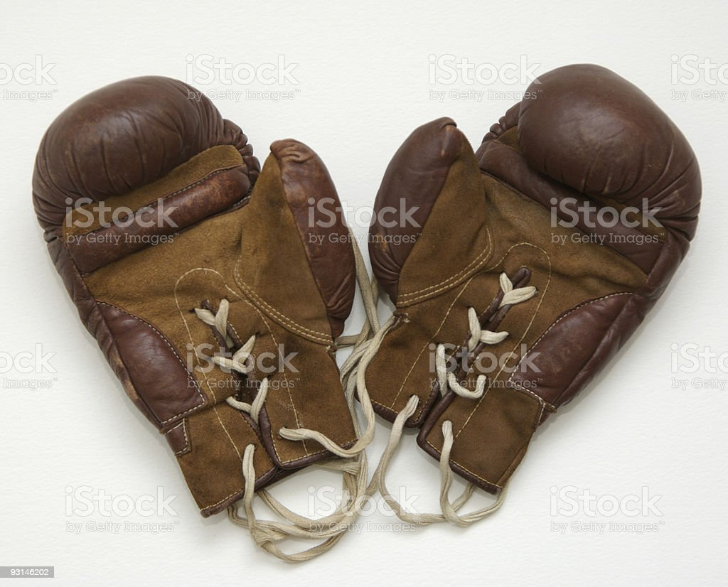 Old leather boxing gloves royalty-free stock photo