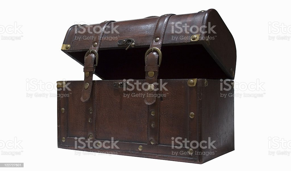 Old leather chest  lid open (with path) royalty-free stock photo