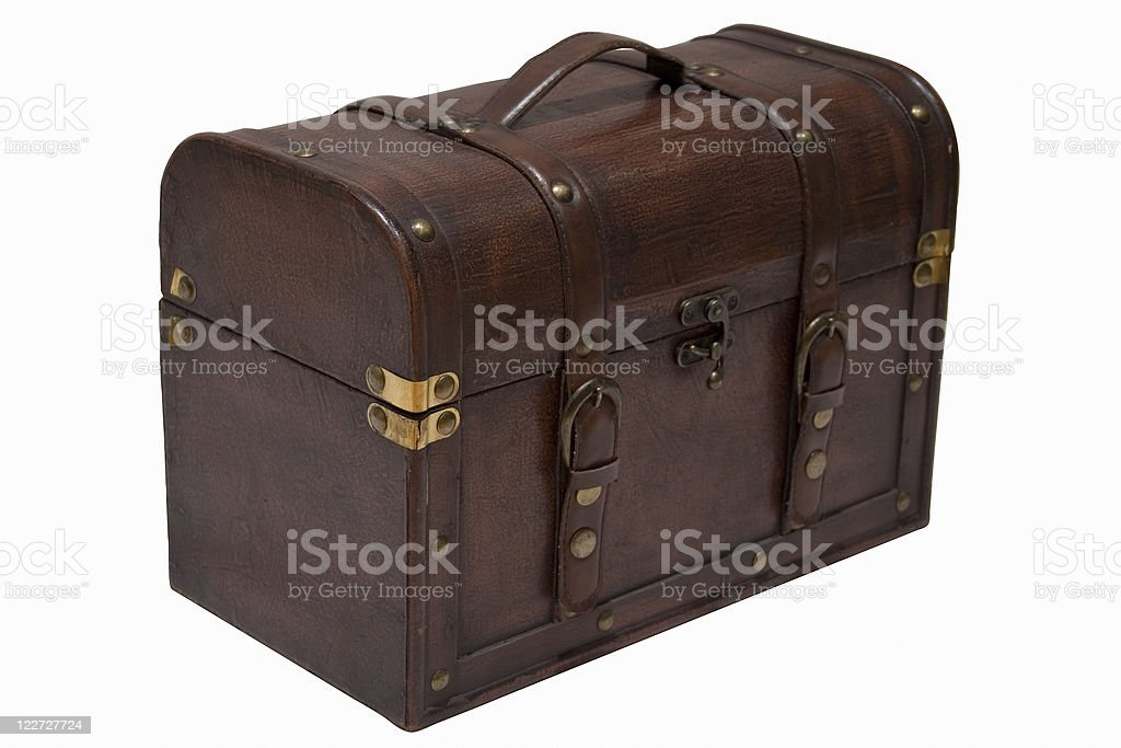 Old leather chest (with path) royalty-free stock photo