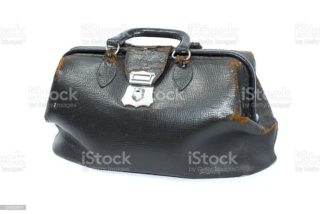 old leather doctor bag stock photo