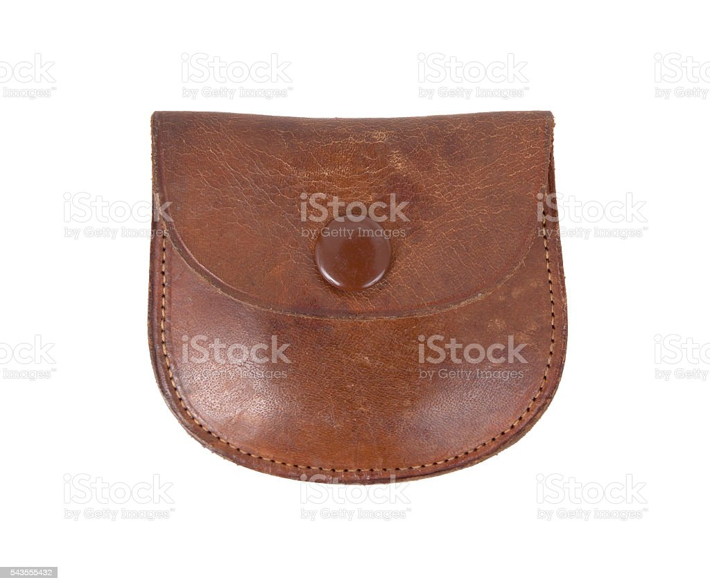 Old leather etui stock photo