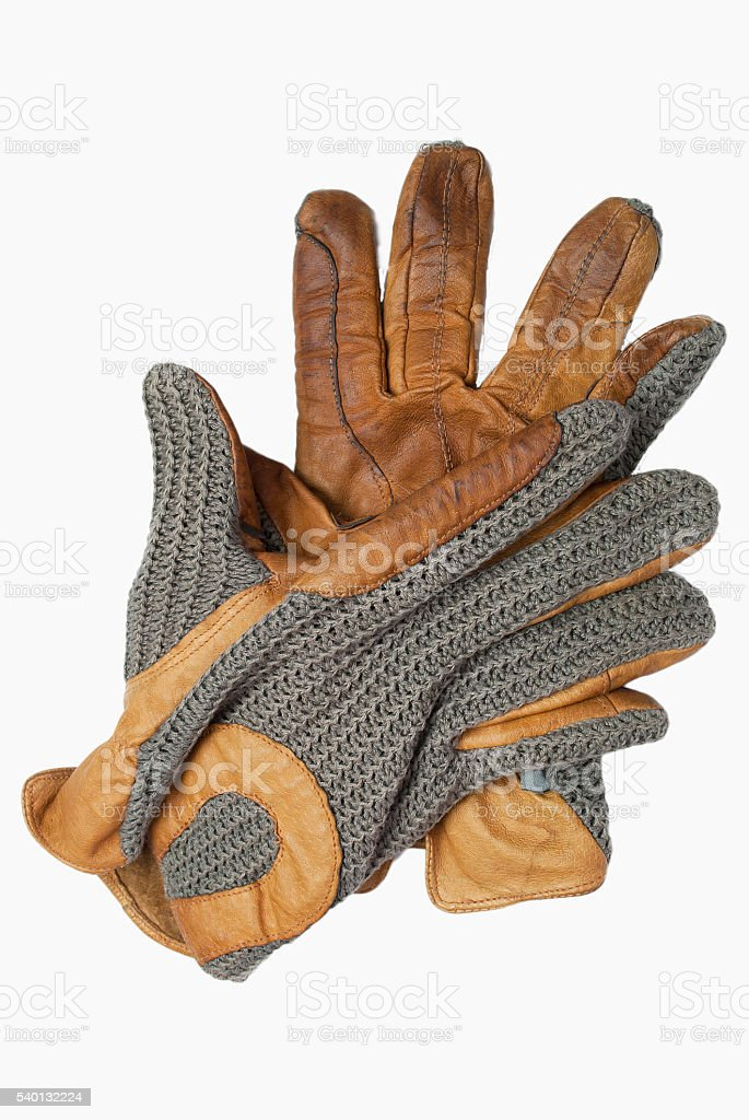 Old leather gloves. stock photo
