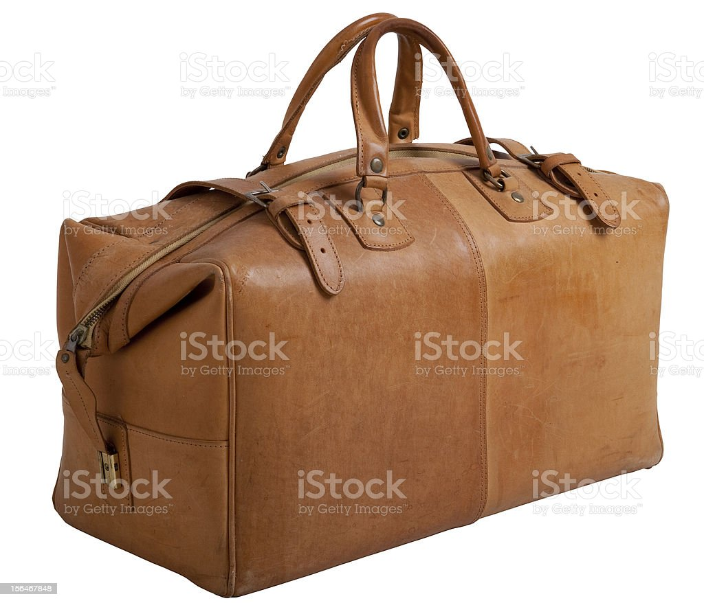 Old leather gripsack royalty-free stock photo