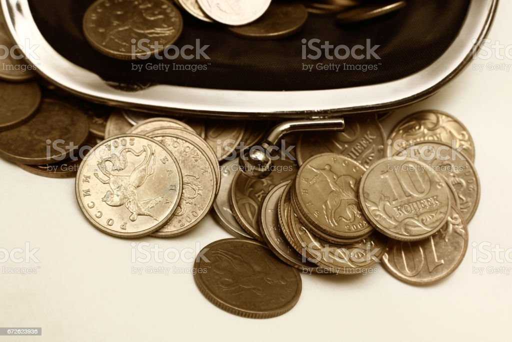 Old leather pouch with Russian coins stock photo