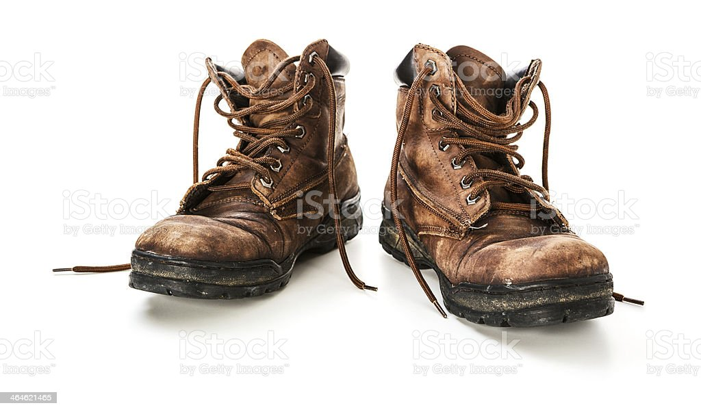 Old leather shoes stock photo