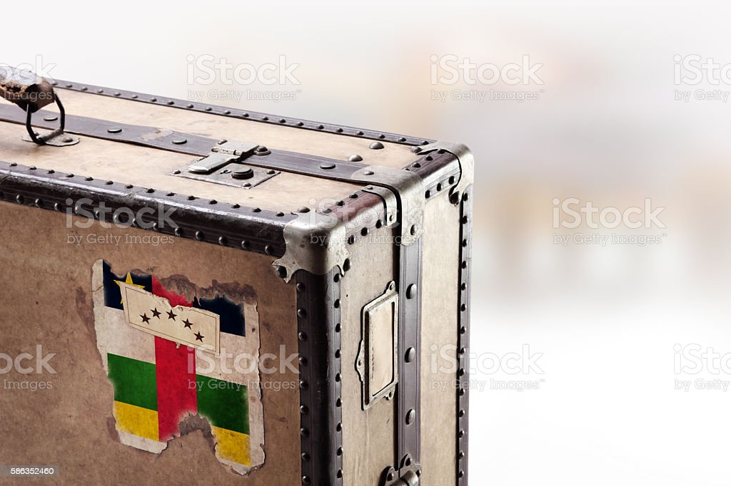 Old leather suitcase with flag of Central African Republic stock photo
