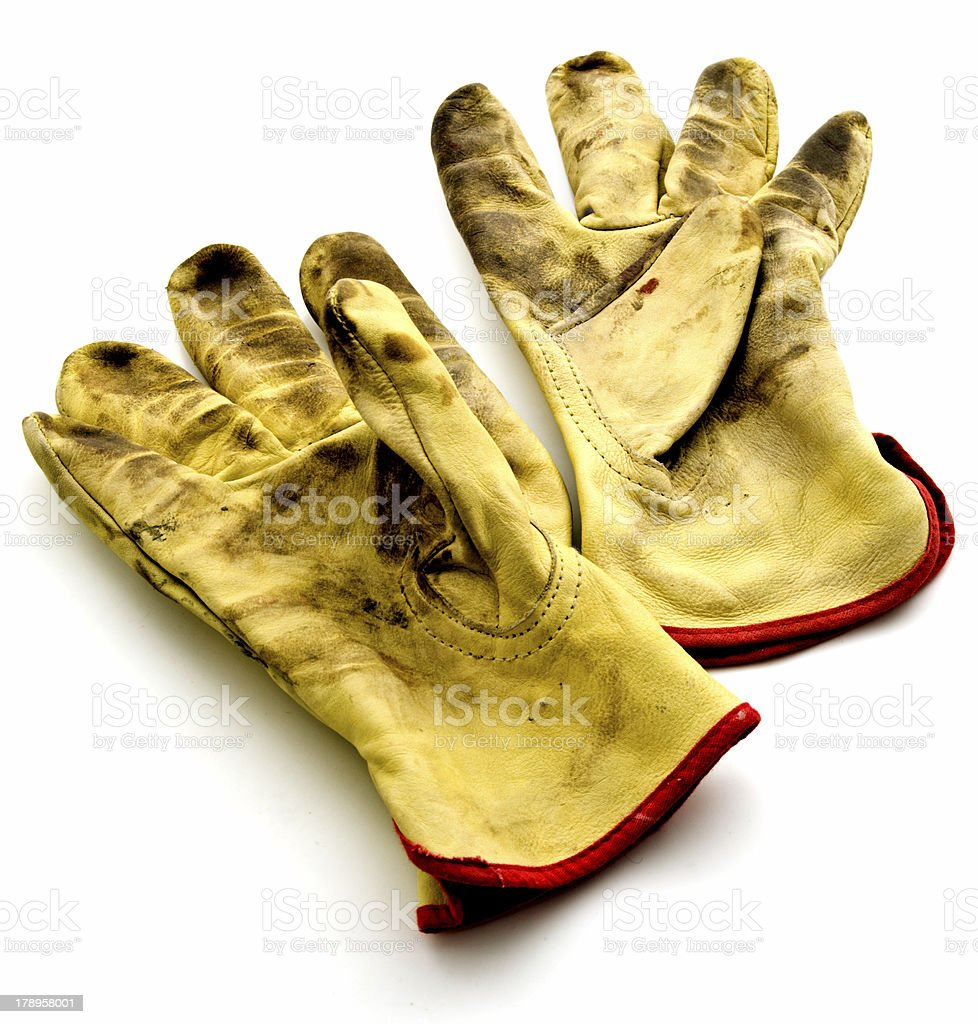 Old Leather Work Gloves, Isolated on White royalty-free stock photo