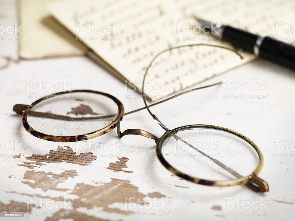 Old letter with glasses royalty-free stock photo