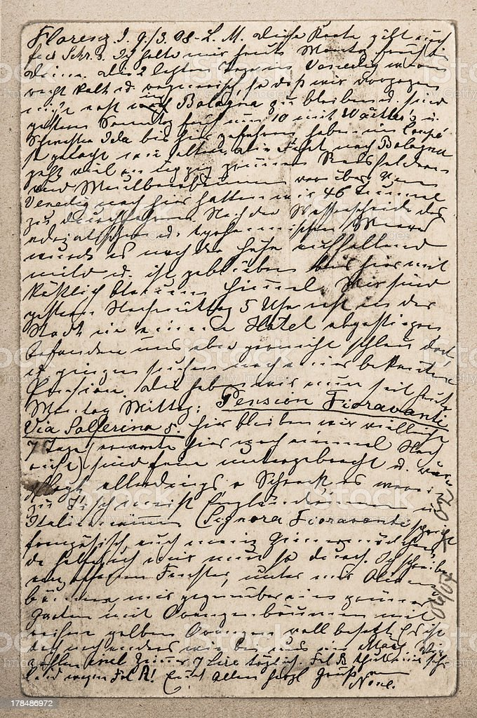 old letter with handwritten italian text royalty-free stock photo