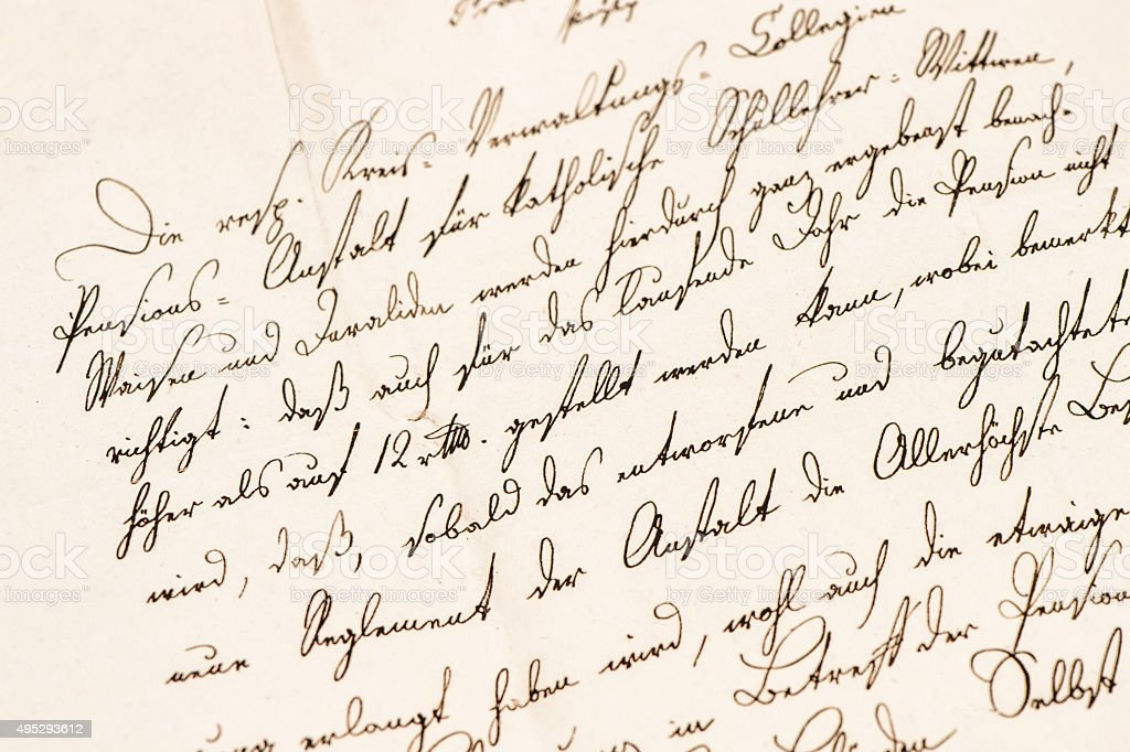 Old letter with handwritten text. Grunge vintage paper texture stock photo