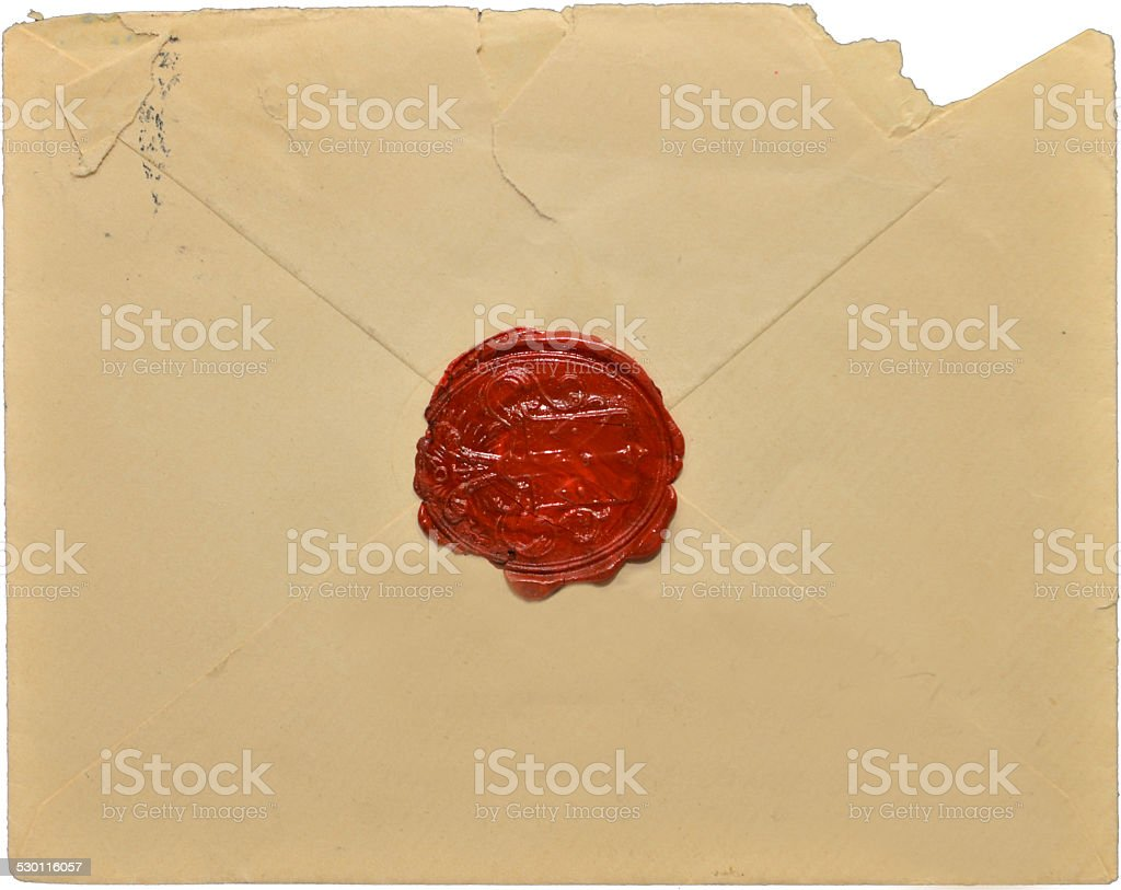 Old letter with wax seal stock photo