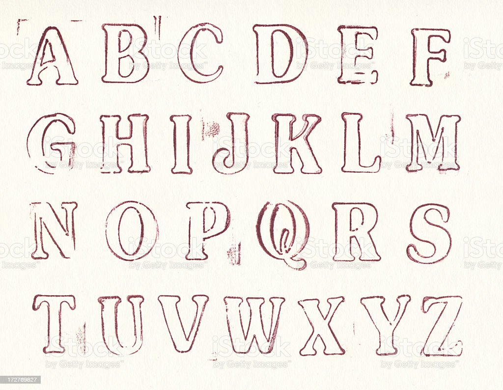 Old letterpress uppercase alphabets - A to Z stock photo