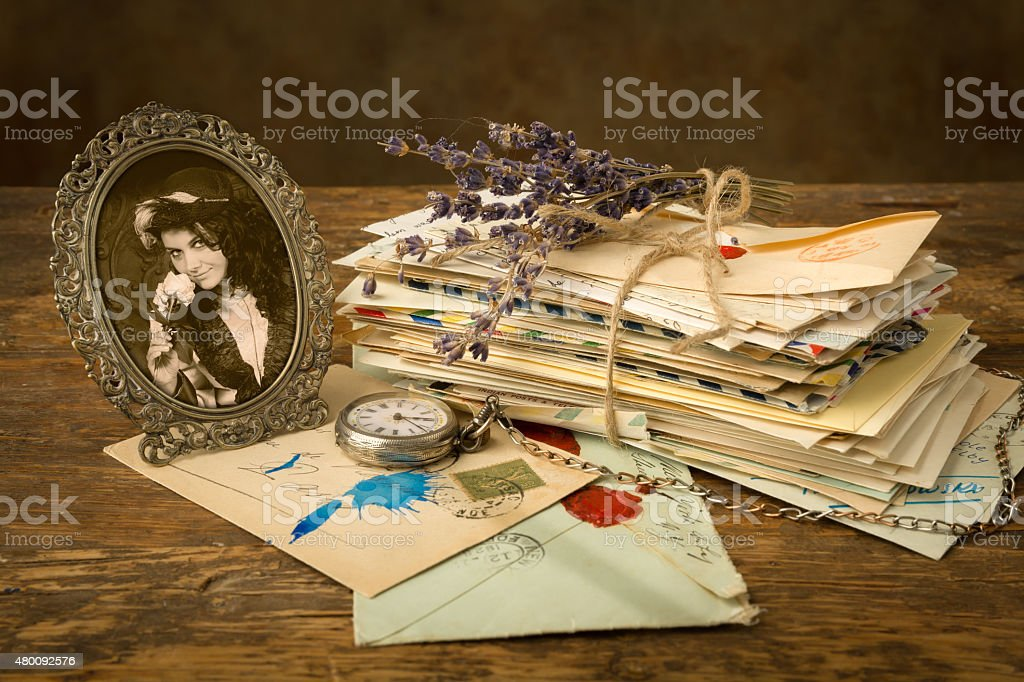 Old letters and a portrait stock photo