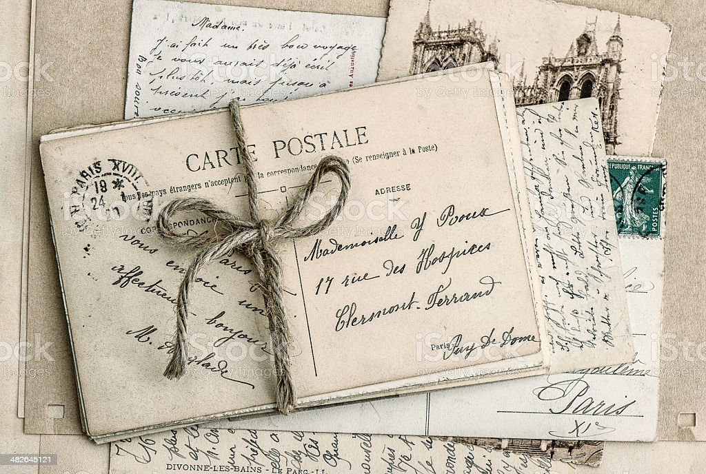 old letters and antique french postcards stock photo
