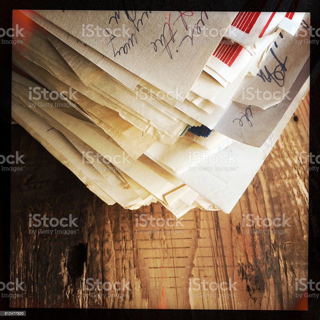Old Letters and Papers on Wood Surface stock photo
