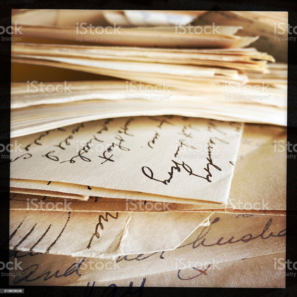 Old Letters in Messy Pile stock photo