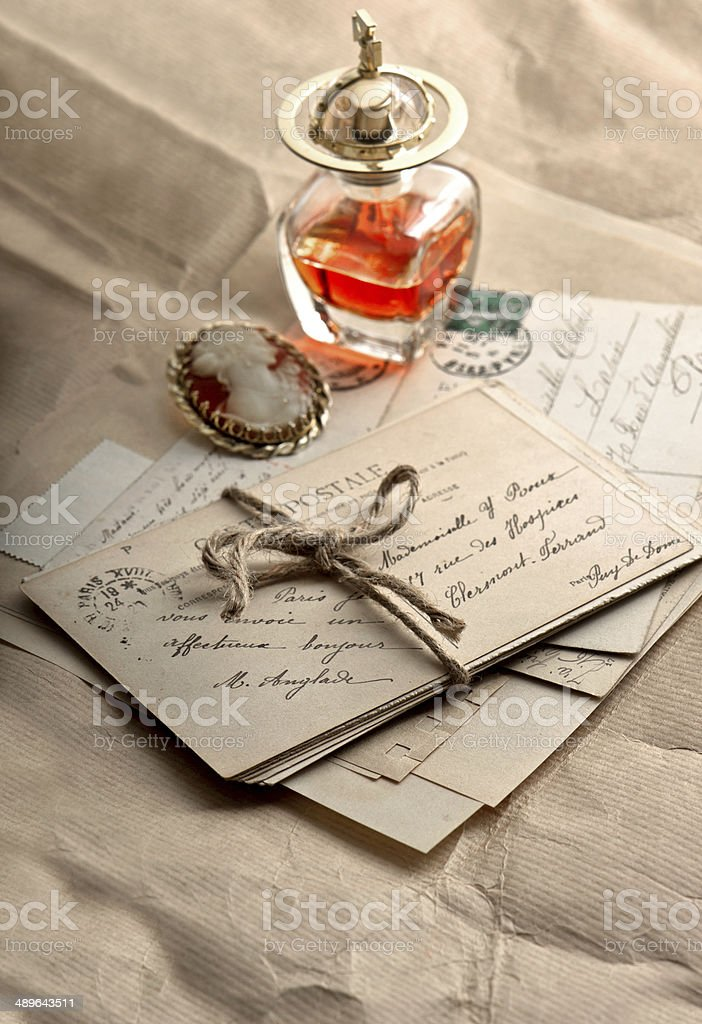 old letters, postcards and vintage things royalty-free stock photo