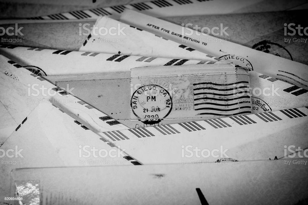 Old letters with SAN DIEGO stamped in 1990 stock photo