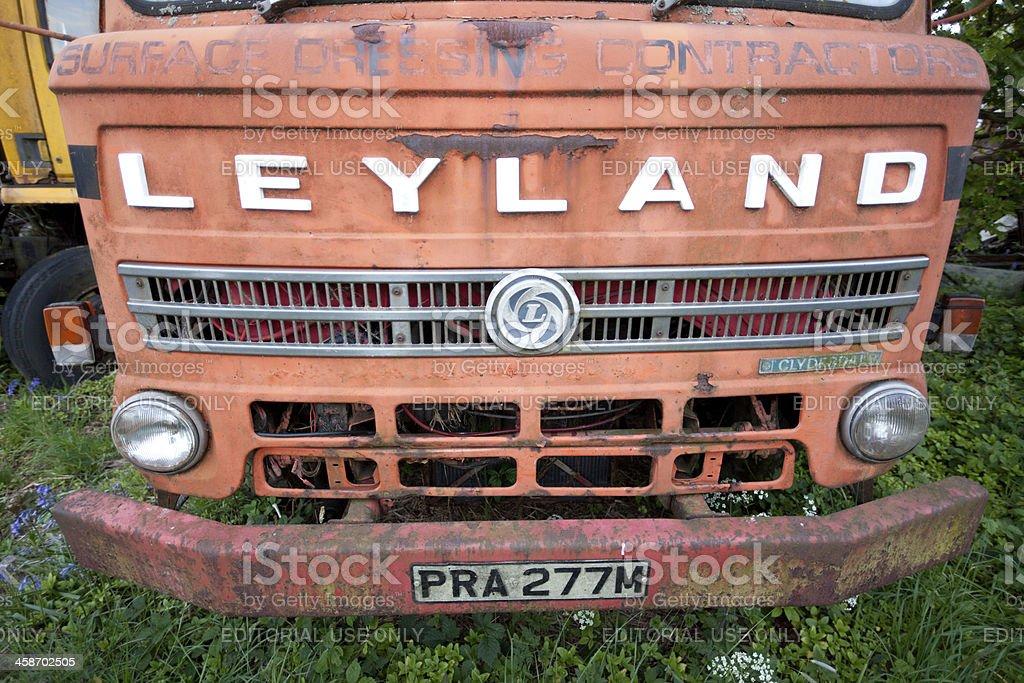 old Leyland lorry in scrapyard England royalty-free stock photo