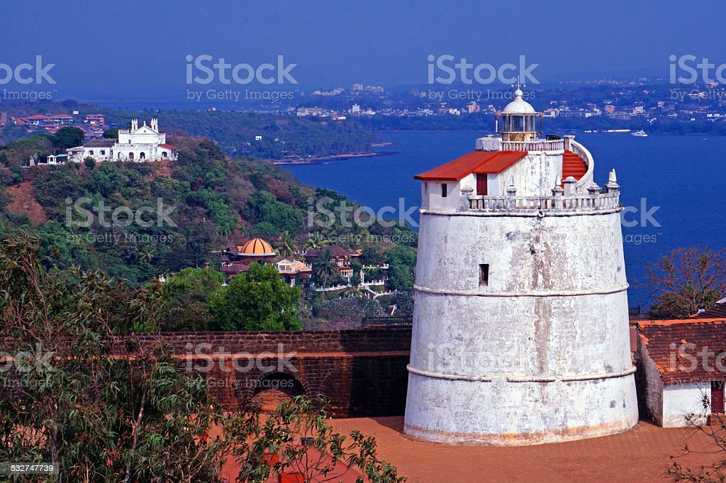 Old Lighthouse and Fort stock photo