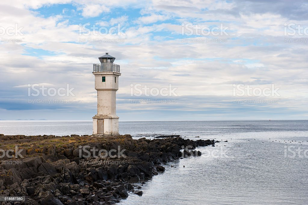 Old lighthouse at Akranes coast, Iceland stock photo