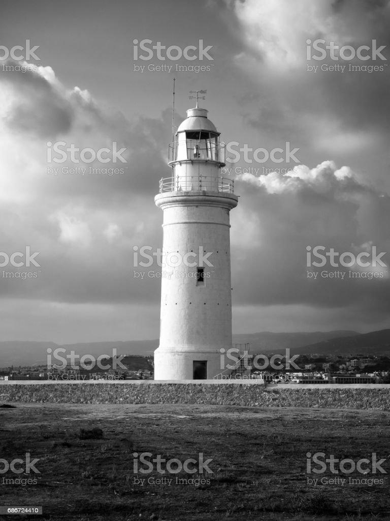 Old Lighthouse in monochrome. Kato Pafos, Cyprus. stock photo