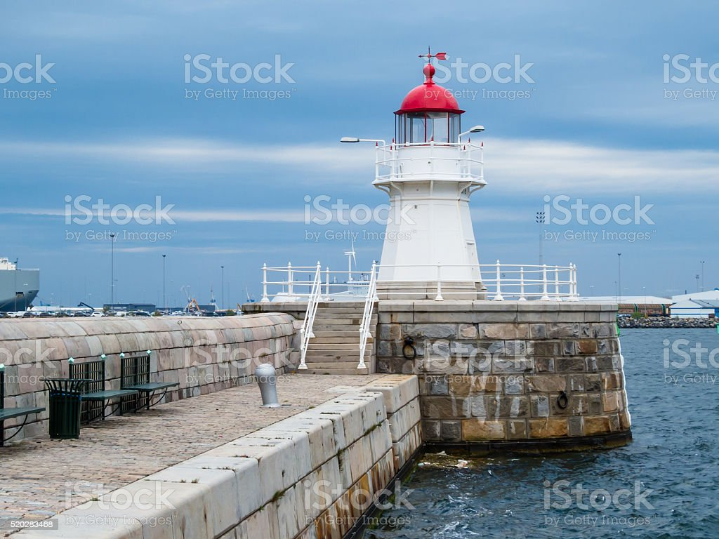 Old Lighthouse in twilight, Malmo, Sweden stock photo
