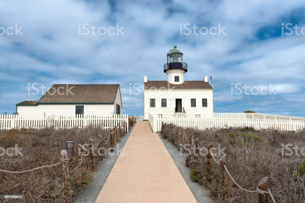 Old Lighthouse Point Loma, San Diego stock photo
