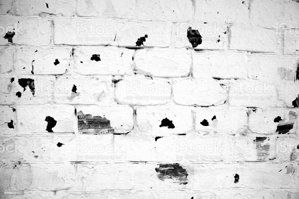 Old limed brick wall stock photo
