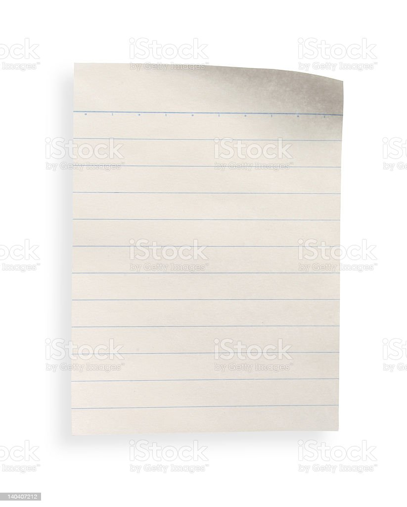 old lined paper (with clipping path) royalty-free stock photo
