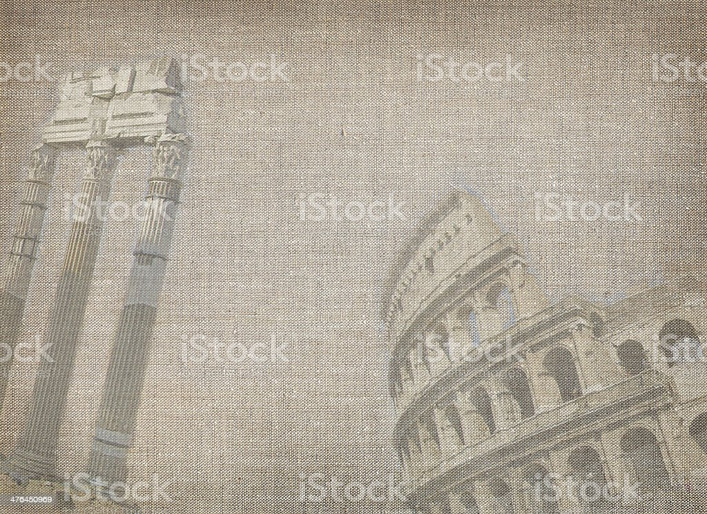 Old linen background with Rome view royalty-free stock photo