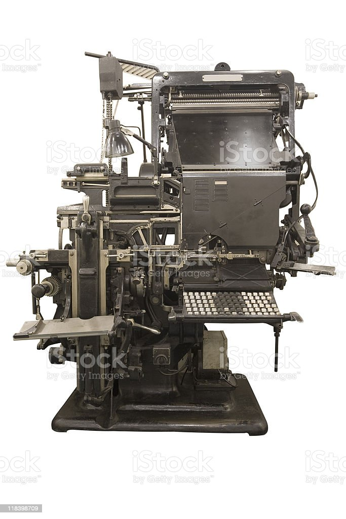 Old linotype royalty-free stock photo