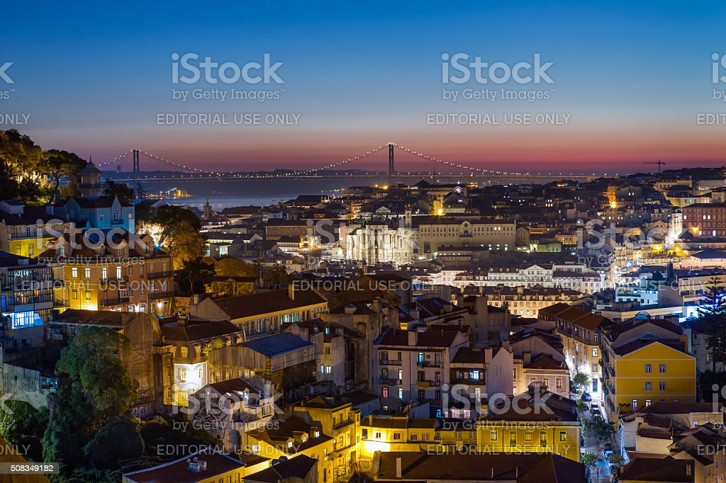 Old lisbon at blue hour stock photo