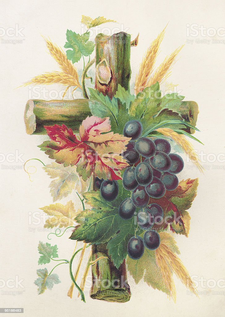 Old Lithograph print of a Cross stock photo