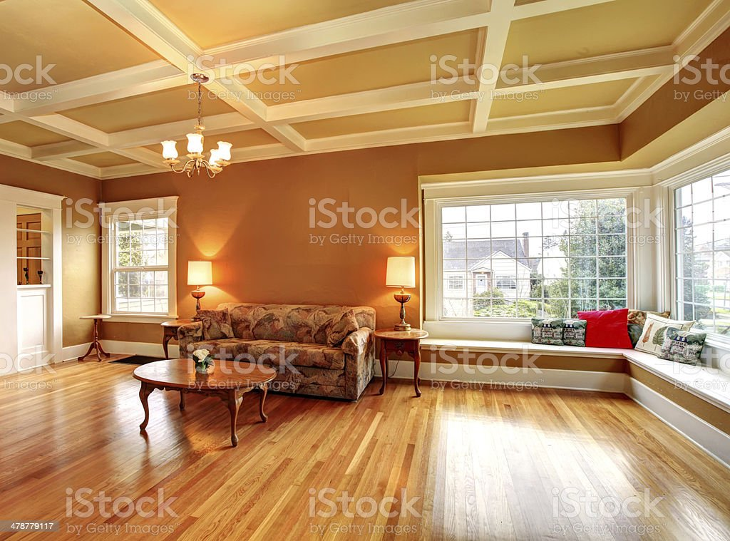 Old living room with an antique furniture stock photo