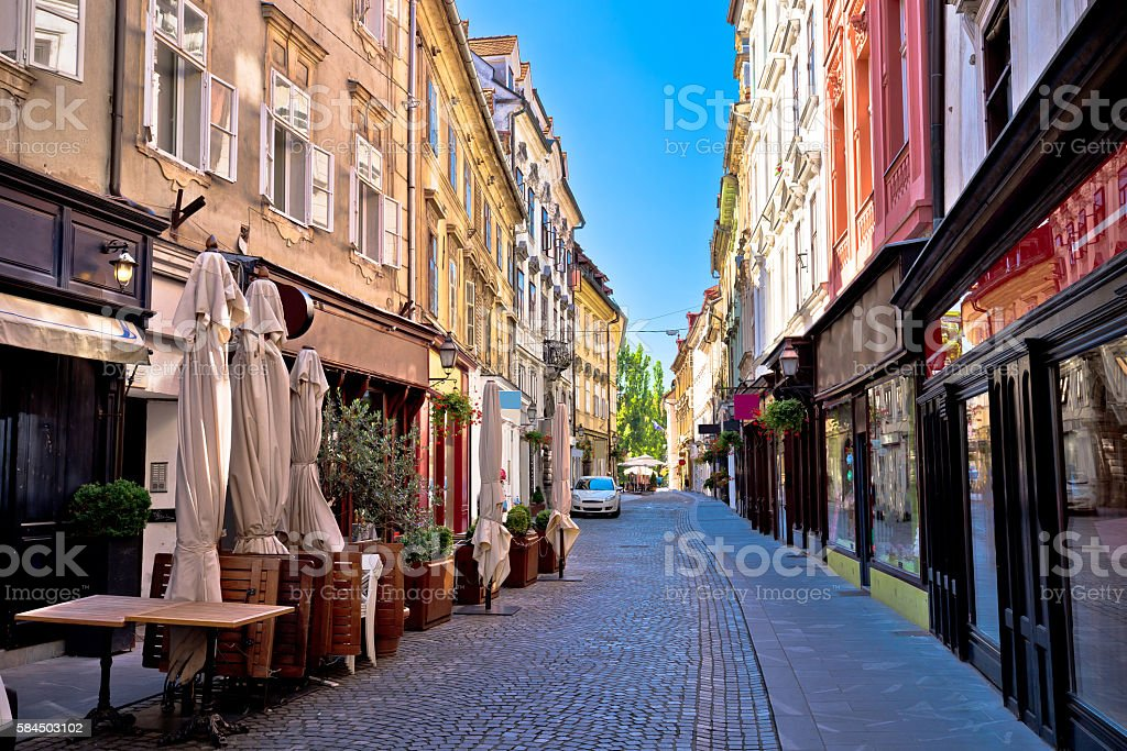 Old Ljubljana cobbled street view stock photo